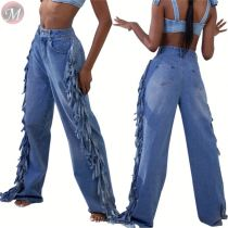 9110435 fall mid waist straight loose washed tassel sides Pants Jeans Women