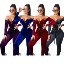 9110623 newest solid off shoulder bodysuit jogging suit pleuche Pant Women Clothing Two Piece Sets