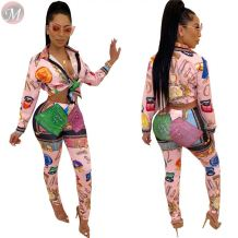9110631 high quality cute print shirt long pant Outfits Two Piece Set Women Clothing