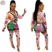 9110631 high quality cute print shirt long pant Outfits Two Piece Set Women Clothing