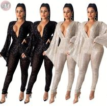 9110619 latest design deep V neck flared sleeve clubwear party sequin Jumpsuits Women 2019 Sexy