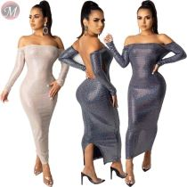 9102333 new off shoulder backless hot stamping bodycon Long Maxi Designer Sexy Womens Club Dresses