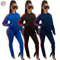 9110835 2019 sexy lose shoulder solid side stripe hooded sports Outfits Two Piece Set Women Clothing