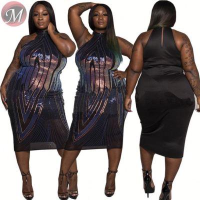 D911007 wholesale new sleeveless sequin stripe nightclub party Dress Ladies Clothing 2019 Fashion Women Plus Size