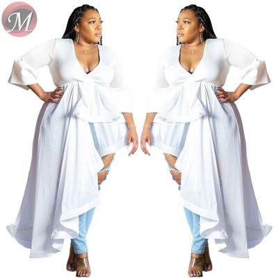 D911005 casual fashion v neck white asymmetrical maxi Dress Ladies Clothing 2019 Fashion Women Plus Size