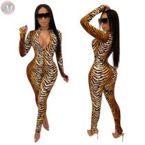 9110728 hot selling fashion tiger print v neck bodycon Sexy Women 2019 Jumpsuit