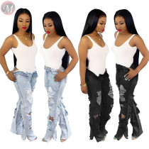 9110604 popular front back holes washed ripped straight High Waist Women Pants Jeans