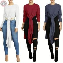 9111102 wholesale sexy side long slit solid color autumn X-long Ladies Clothing Women Fashion Sweater