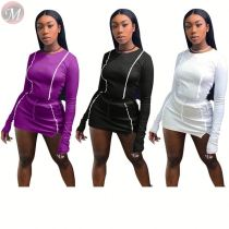 9111110 best design solid long sleeve side stripe mini skirt club Clothing Women Two Piece Sets