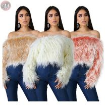 9111235 wholesale fashion solid color off shoulder woolly fur short women fashion clothing blouse