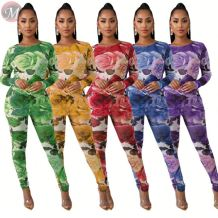 9111226 new style mesh fabric flower print skinny Pants Suit Set Women Clothing Fashion Two Piece