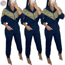 9111336 casual long zipper splicing sports style Casual Trendy Long Sleeve Jumpsuit