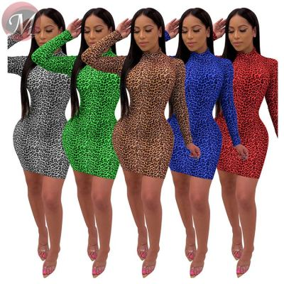 9111911 fashion 5 colors long sleeve leopard printed sexy women fashion bodycon mini dress
