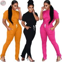 9110503 new style short sleeve drawstring trouser solid Fashion 2019 Woman Two Piece Pants Suit Set