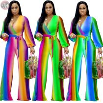 9111328 cheap price v-neck gradient color lantern sleeve 2019 Sexy Clothing Women Jumpsuits And Rompers