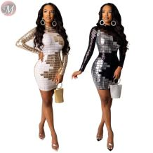 9102323 best price square checks hot stamping bodycon mini Sexy Womens Club Casual Dresses