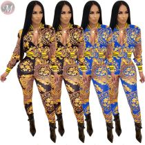 9111519 stylish floral leopard printed long sleeve autumn 2019 Women Clothing Two Piece Sets