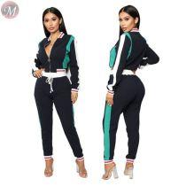 9111509 fashionable patchwork casual sports tracksuit women two piece pants suit set