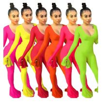 9111833 new style 6 colors v neck flared cute Bodycon Casual Long Sleeve Jumpsuit