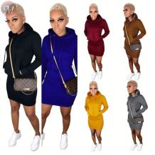 9102805 best pricen solid color fall hooded hoodie dress Latest Casual Designs Clothing Women Fashion Dress