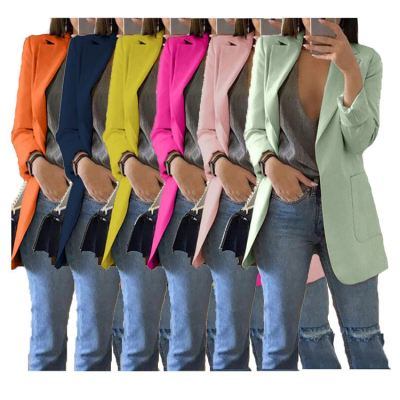 9111536 hot sale solid colors turn-down collar elegant slim latest design 2019 women fashion clothing Blazer