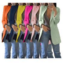 9111536 hot sale solid colors turn-down collar elegant slim latest design 2019 women fashion clothing Blazer