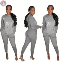 9111513 casual fashion front sequin splicing autumn hoodie women two piece pants suits set