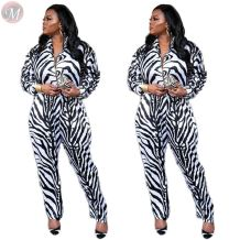 9111812 good quality black and white stripe print zipper Long Sleeve Women Trendy Casual jumpsuit