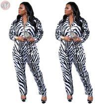 9111812 good quality black and white stripe print zipper Long Sleeve Women Trendy Casual jumpsuit