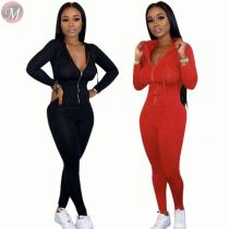 9111514 new stylish long zipper front hooded full length Long Sleeve Solid Color Trendy Jumpsuit