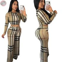 9111510 hot selling checked crop top wide leg fall women clothing two piece outfits set