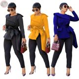 9111828 hot sell solid color ruffle collar elegant bandage Latest Design 2019 Women Clothing Blouses