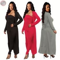9111520 wholesale solid strapless jumpsuit maxi cardigan coat Women Clothing Two Piece Sets