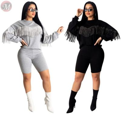 9111819 wholesale new solid tassel hoodie shorts casual Fashion Women Clothing Two Piece Pants Suit Set
