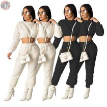 9112518 new solid color warn woolen crop top straight pants two piece outfits set women clothing