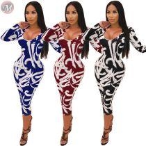 9112014 hot sale long sleeve bodycon graffiti fall Women Fashion Casual Floral Printed Dress