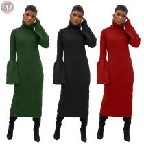 9112005 latest design high neck flared sleeve solid rib designer long casual dress women