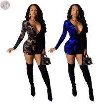 9112232 new design deep V neck camouflage bodycon short Rompers Womens Casual Jumpsuit 2019
