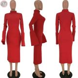 9112005 latest design high neck flared sleeve solid rib designer long casual dress women