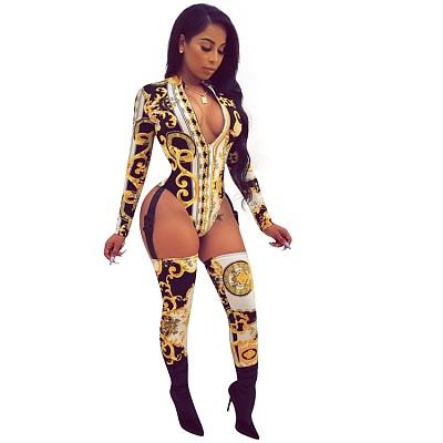 Q120309 new fashion women 2019 long sleeve bodycon jumpsuit
