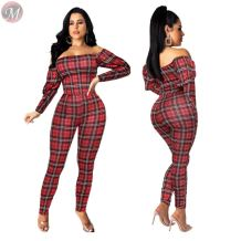 wholesale price off shoulder top casual checked 2019 Women Two Piece Pant Set