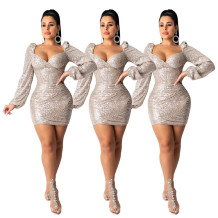 2019 Fashion sequined mesh party dress with long sleeves and a round neck