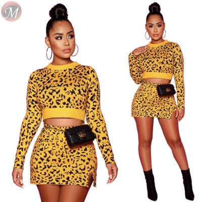 fashionable leopard long sleeve crop top slit mini skirt Sexy Two Piece Set Women Clothing Dress