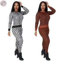 casual round neck long sleeve geometrical print fall Pant Sets Two Piece Set Women Clothing