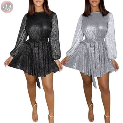 good quality round neck belt long sleeve sequin party Short Ladies Sexy Dress