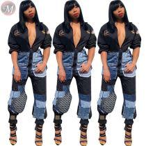 best price denim patch stitching appliques casual autumn Clothing Jumpsuit Woman