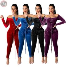 new style pure color off shoulder pockets eyelet bandage Woman Romper Solid Jumpsuit