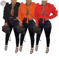 design fashion pure color agaric edge zipper sleeve Fashion Blouse Women Top