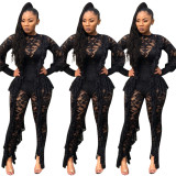 9092529 autumn ruffle egde lace see through night club sexy bodycon womens jumpsuits rompers