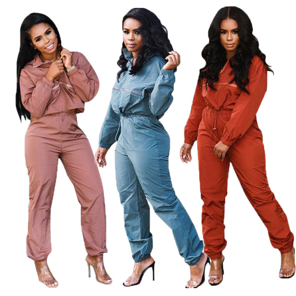 9102822 2019 fashion pure color front zip straight pants Outfits Two Piece Set Women Clothing